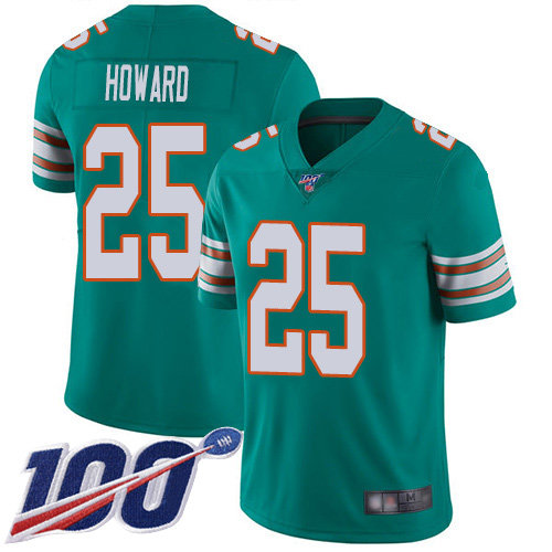 Youth Dolphins #25 Xavien Howard Aqua Green Alternate Stitched Football 100th Season Vapor Limited Jersey