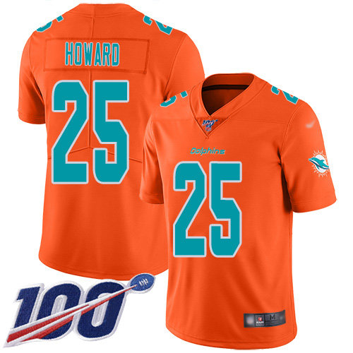 Youth Dolphins #25 Xavien Howard Orange Stitched Football Limited Inverted Legend 100th Season Jersey