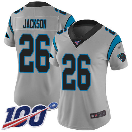 Nike Panthers #26 Donte Jackson Silver Women's Stitched NFL Limited Inverted Legend 100th Season Jersey