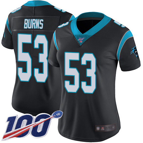 Nike Panthers #53 Brian Burns Black Team Color Women's Stitched NFL 100th Season Vapor Limited Jersey