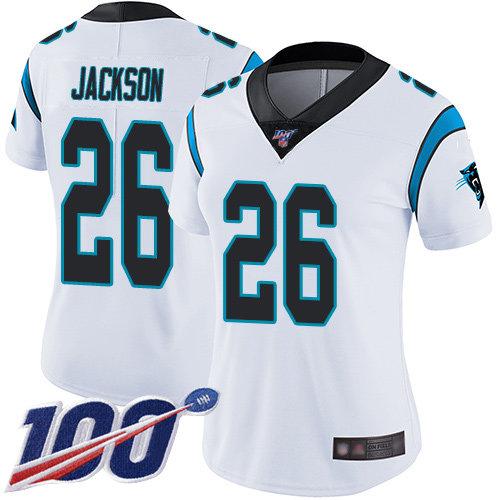 Nike Panthers #26 Donte Jackson White Women's Stitched NFL 100th Season Vapor Limited Jersey