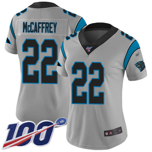 Nike Panthers #22 Christian McCaffrey Silver Women's Stitched NFL Limited Inverted Legend 100th Season Jersey