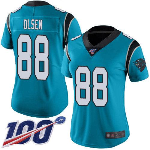 Nike Panthers #88 Greg Olsen Blue Alternate Women's Stitched NFL 100th Season Vapor Limited Jersey