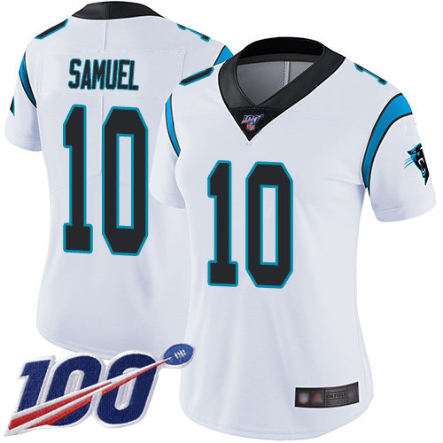 Nike Panthers #10 Curtis Samuel White Women's Stitched NFL 100th Season Vapor Limited Jersey