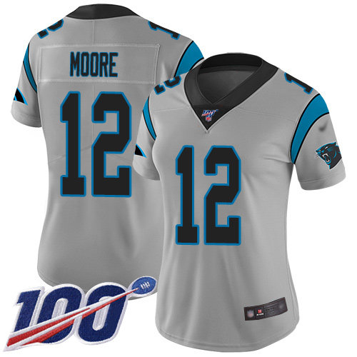 Nike Panthers #12 DJ Moore Silver Women's Stitched NFL Limited Inverted Legend 100th Season Jersey