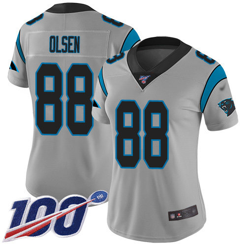 Nike Panthers #88 Greg Olsen Silver Women's Stitched NFL Limited Inverted Legend 100th Season Jersey