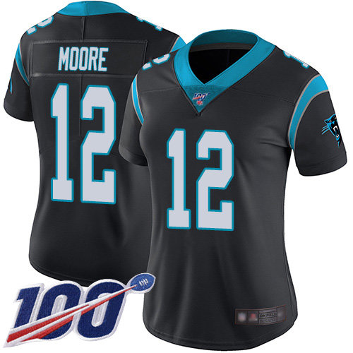 Nike Panthers #12 DJ Moore Black Team Color Women's Stitched NFL 100th Season Vapor Limited Jersey