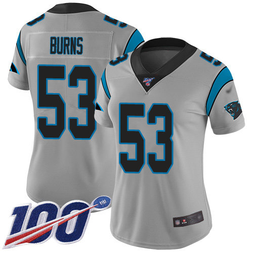 Nike Panthers #53 Brian Burns Silver Women's Stitched NFL Limited Inverted Legend 100th Season Jersey