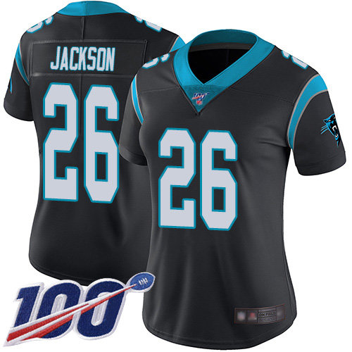 Nike Panthers #26 Donte Jackson Black Team Color Women's Stitched NFL 100th Season Vapor Limited Jersey