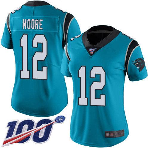 Nike Panthers #12 DJ Moore Blue Alternate Women's Stitched NFL 100th Season Vapor Limited Jersey