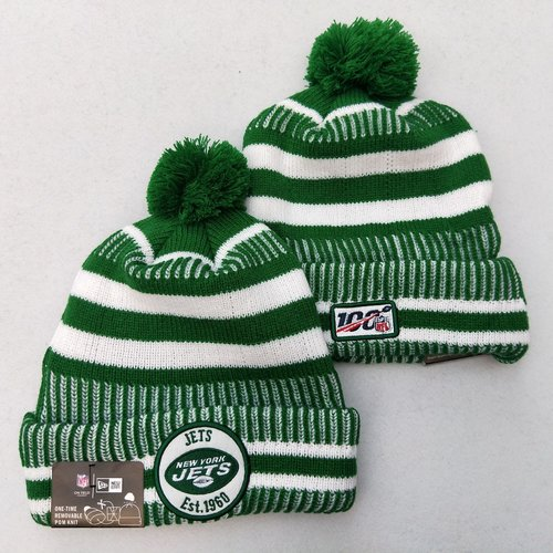 Jets Team Logo Green 100th Season Pom Knit Hat YD