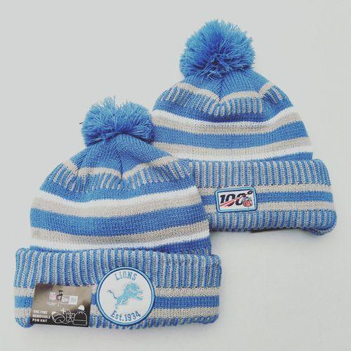 Lions Team Logo Light Blue 100th Season Pom Knit Hat YD