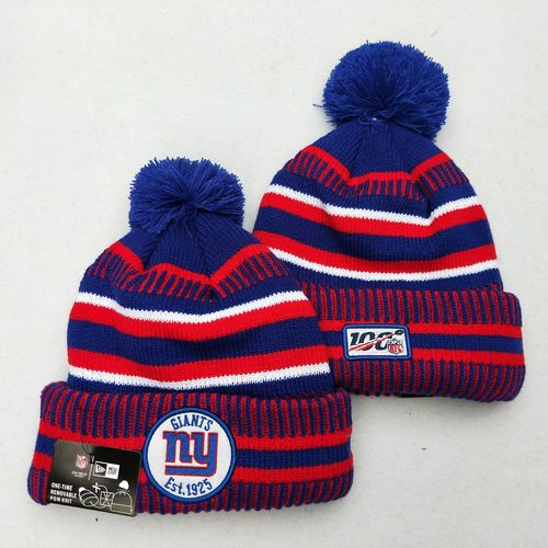 New York Giants Team Logo Red 100th Season Pom Knit Hat YD
