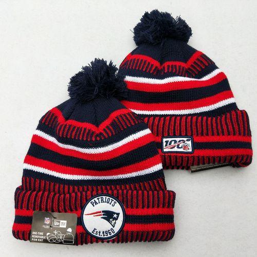 Patriots Team Logo Red 100th Season Pom Knit Hat YD