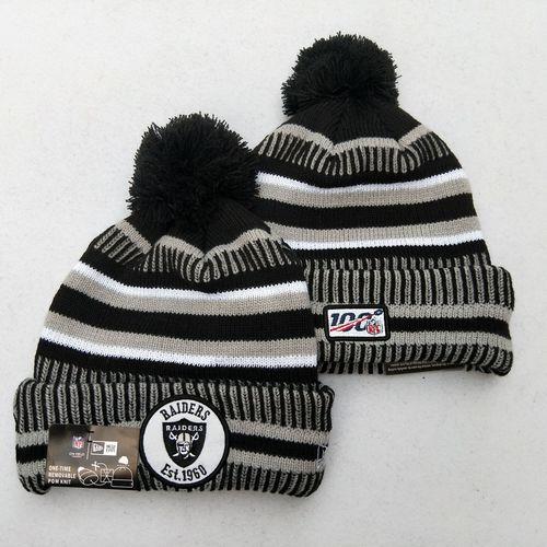 Raiders Team Logo Gray 100th Season Pom Knit Hat YD