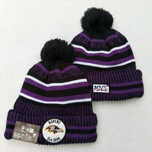 Ravens Team Logo Purple 100th Season Pom Knit Hat YD