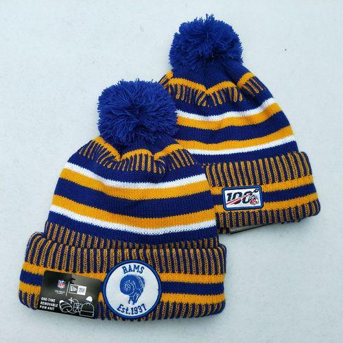 Rams Team Logo Royal Yellow 100th Season Pom Knit Hat YD