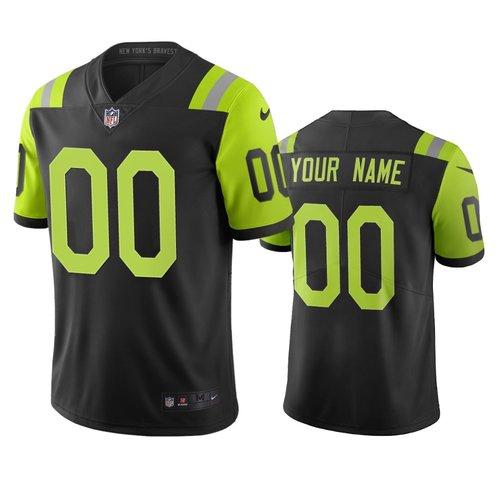 New York Jets Custom Black Green Vapor Limited City Edition NFL Jersey
