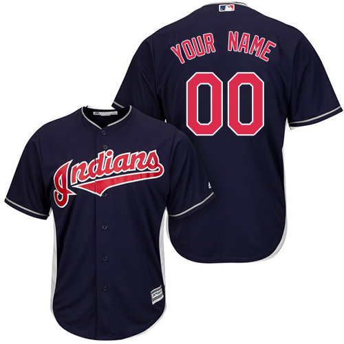 Authentic Navy Blue Baseball Alternate Youth Jersey Customized Cleveland Indians Cool Base