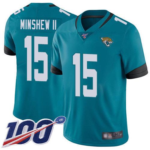 Jaguars #15 Gardner Minshew II Teal Green Alternate Men's Stitched Football 100th Season Vapor Limited Jersey
