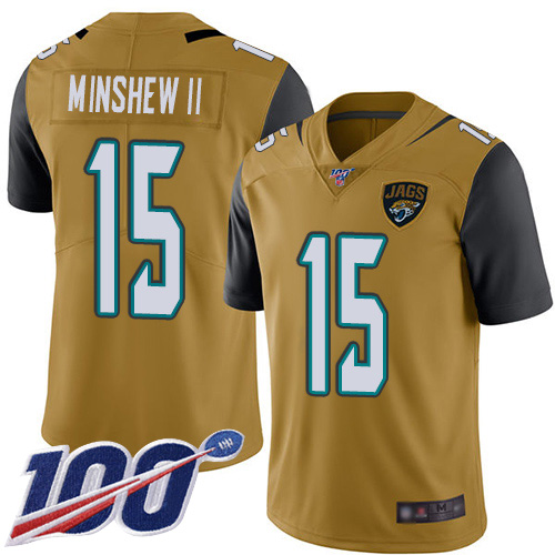 Jaguars #15 Gardner Minshew II Gold Men's Stitched Football Limited Rush 100th Season Jersey