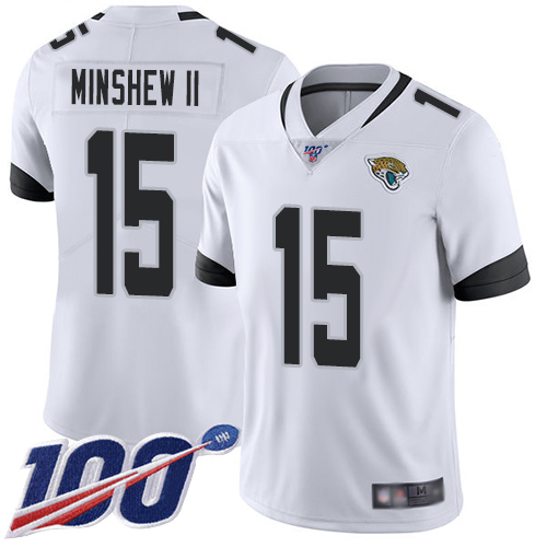 Jaguars #15 Gardner Minshew II White Men's Stitched Football 100th Season Vapor Limited Jersey