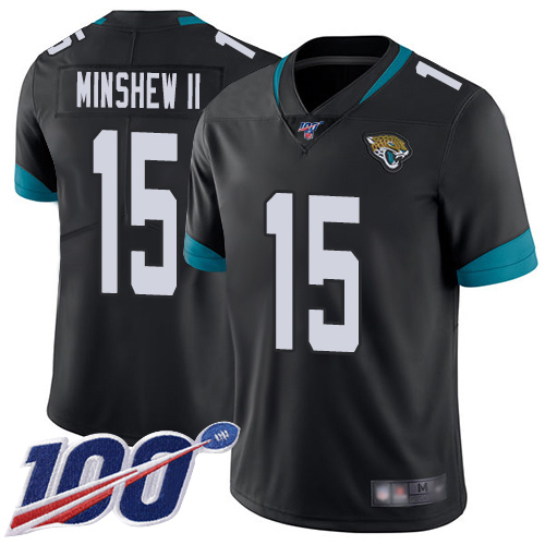 Jaguars #15 Gardner Minshew II Black Team Color Men's Stitched Football 100th Season Vapor Limited Jersey