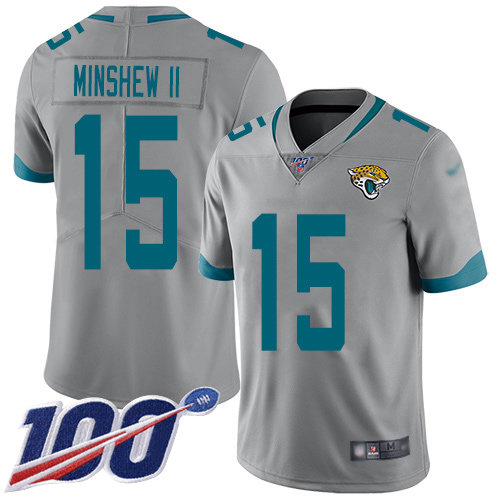 Jaguars #15 Gardner Minshew II Silver Men's Stitched Football Limited Inverted Legend 100th Season Jersey