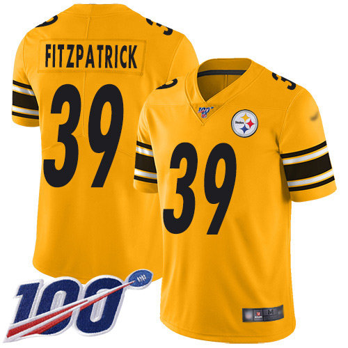 Steelers #39 Minkah Fitzpatrick Gold Men's Stitched Football Limited Inverted Legend 100th Season Jersey