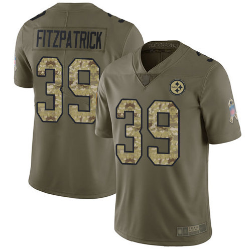 Steelers #39 Minkah Fitzpatrick Olive Camo Men's Stitched Football Limited 2017 Salute To Service Jersey
