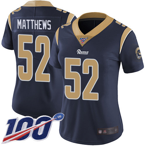 Rams #52 Clay Matthews Navy Blue Team Color Women's Stitched Football 100th Season Vapor Limited Jersey
