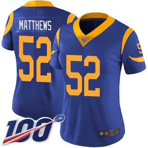 Rams #52 Clay Matthews Royal Blue Alternate Women's Stitched Football 100th Season Vapor Limited Jersey