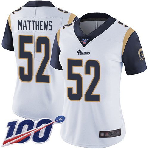 Rams #52 Clay Matthews White Women's Stitched Football 100th Season Vapor Limited Jersey