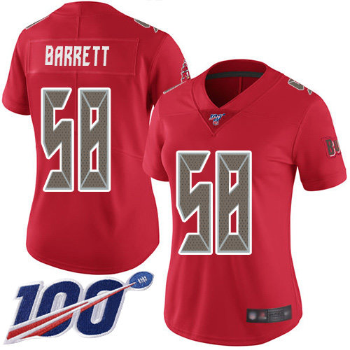 Buccaneers #58 Shaquil Barrett Red Women's Stitched Football Limited Rush 100th Season Jersey