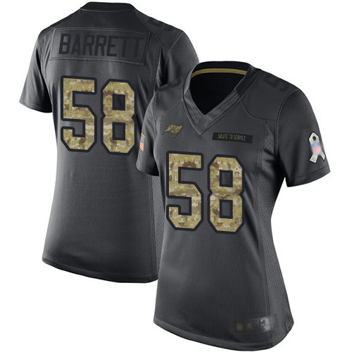 Buccaneers #58 Shaquil Barrett Black Women's Stitched Football Limited 2016 Salute to Service Jersey