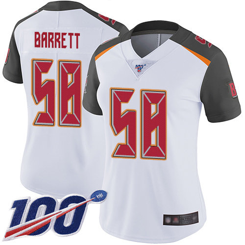 Buccaneers #58 Shaquil Barrett White Women's Stitched Football 100th Season Vapor Limited Jersey