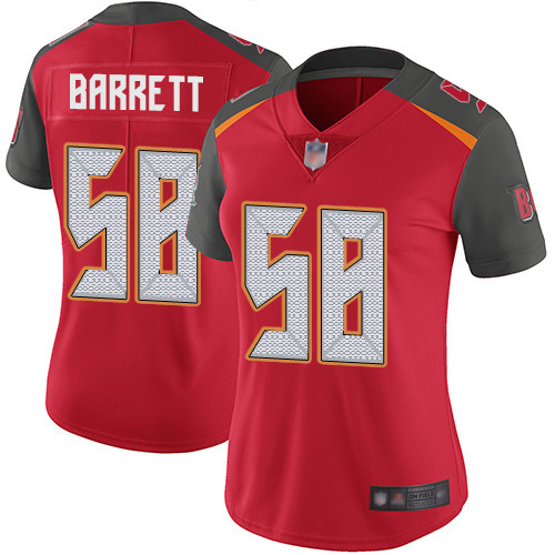 Buccaneers #58 Shaquil Barrett Red Team Color Women's Stitched Football Vapor Untouchable Limited Jersey