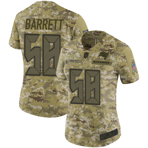 Buccaneers #58 Shaquil Barrett Camo Women's Stitched Football Limited 2018 Salute to Service Jersey