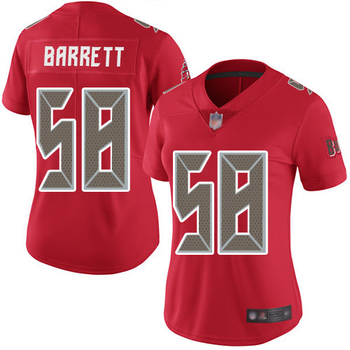 Buccaneers #58 Shaquil Barrett Red Women's Stitched Football Limited Rush Jersey