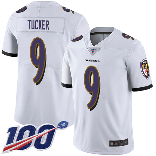 Nike Ravens #9 Justin Tucker White Men's Stitched NFL 100th Season Vapor Limited Jersey