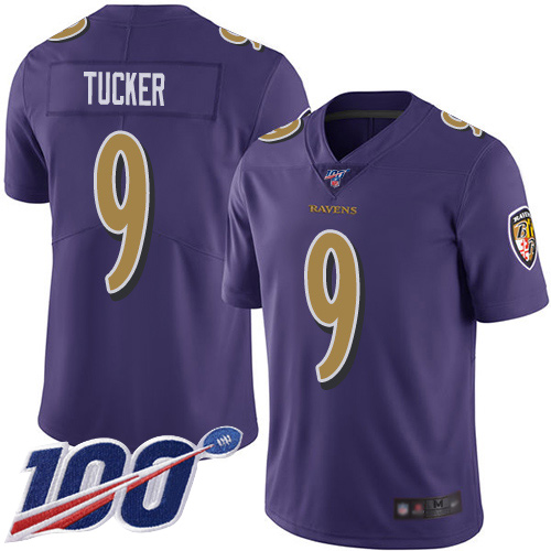 Nike Ravens #9 Justin Tucker Purple Men's Stitched NFL Limited Rush 100th Season Jersey