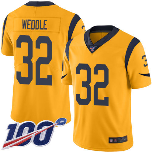 Nike Rams #32 Eric Weddle Gold Men's Stitched NFL Limited Rush 100th Season Jersey
