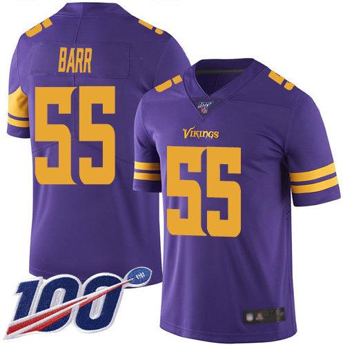 Nike Vikings #55 Anthony Barr Purple Men's Stitched NFL Limited Rush 100th Season Jersey