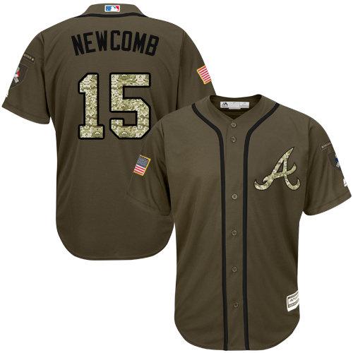 Atlanta Braves #15 Men's Sean Newcomb Authentic Green Salute to Service Baseball Jersey