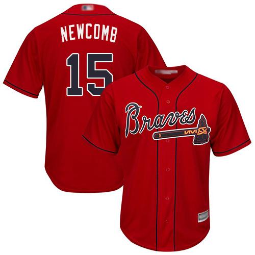 Atlanta Braves #15 Men's Sean Newcomb Replica Red Alternate Cool Base Baseball Jersey