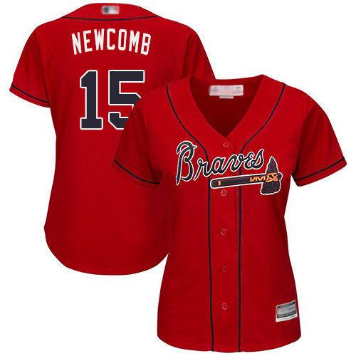 Atlanta Braves #15 Women's Sean Newcomb Authentic Red Alternate Cool Base Baseball Jersey