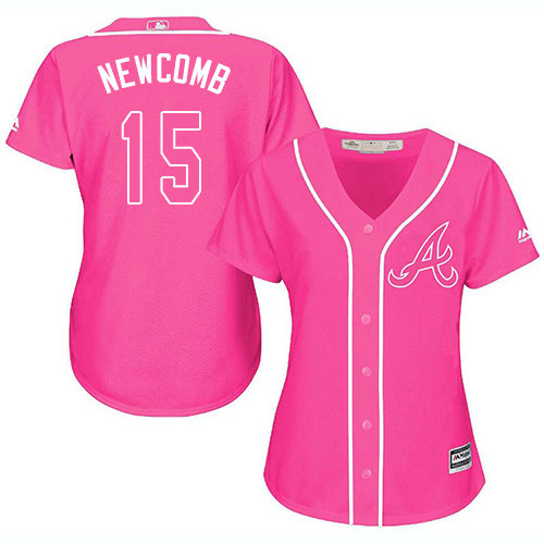 Atlanta Braves #15 Women's Sean Newcomb Authentic Pink Fashion Cool Base Baseball Jersey