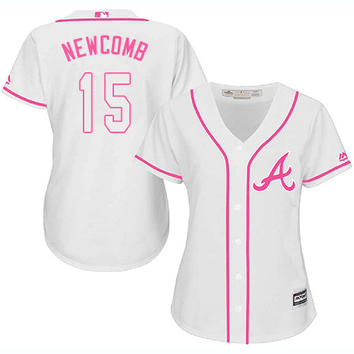 Atlanta Braves #15 Women's Sean Newcomb Authentic White Fashion Cool Base Baseball Jersey