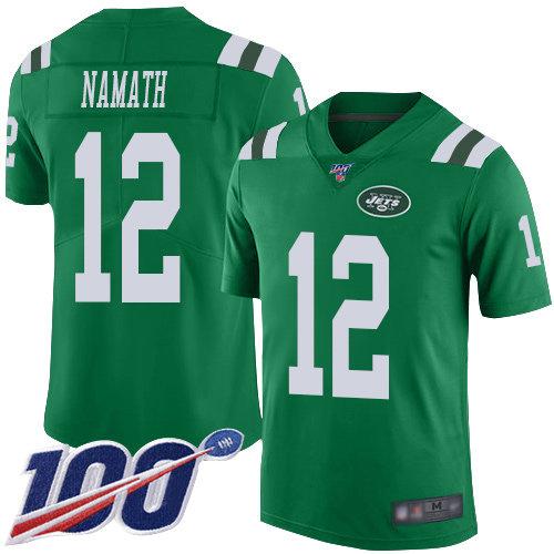 Nike Jets #12 Joe Namath Green Men's Stitched NFL Limited Rush 100th Season Jersey