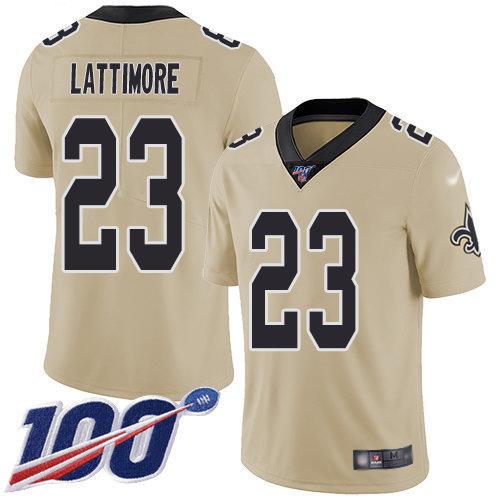 Nike Saints #23 Marshon Lattimore Gold Men's Stitched NFL Limited Inverted Legend 100th Season Jersey